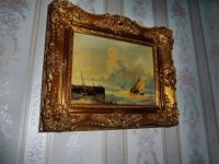 Aangeboden: Twee hele mooie schilderijtjes Zee en Winter gezicht € 230,-