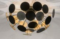 Plafondlamp 54cm mat zwart goud v