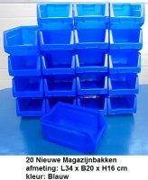 Nieuwe Magazijnbakken Voorraadbakken Grijpbakken 34x20x16cm Blauw