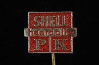 """Aangeboden: Rood met goudkleurig reclamespeld, """"Shell, haardolie, PK"""" in perfecte staat € 1,50"""