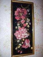 Heel mooi antiek borduurwerk in houten