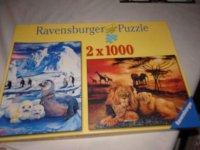 Aangeboden: 2 x 1000 st ravensburger legpuzzel kompleet t.e.a.b.