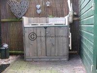 Aangeboden: Steigerhout keukenkast voor buiten met zink op het bovenblad € 471,25