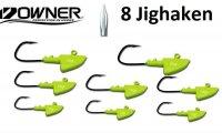Aangeboden: 8 Mosella Jighaken geel met Owner Haken nieuw € 19,-