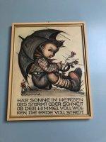 Aangeboden: Oude ingelijste Hummel tekening paraplu Duitse tekst t.e.a.b.